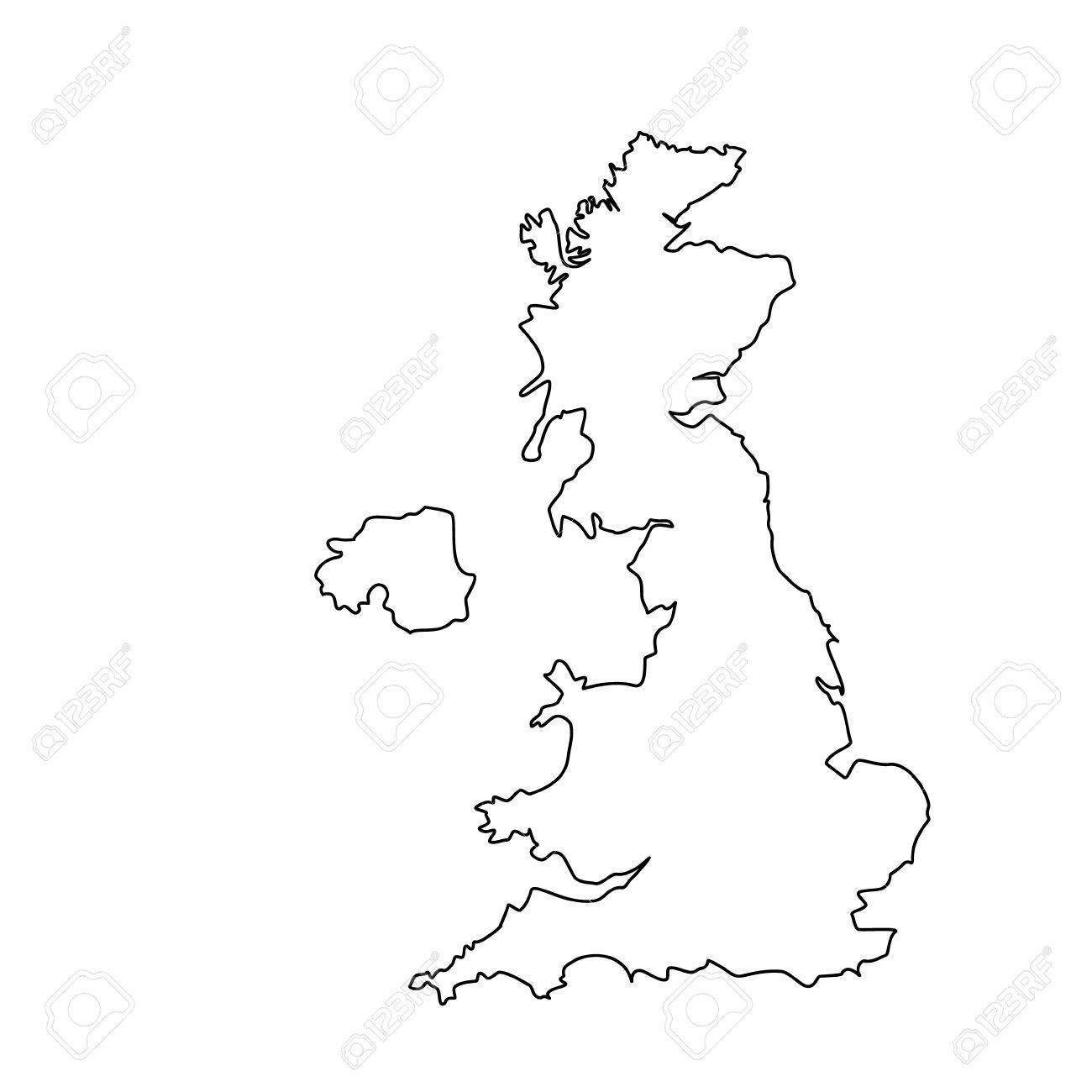 1300x1300 Raster Illustration Uk Map Outline Drawing. England Map Line