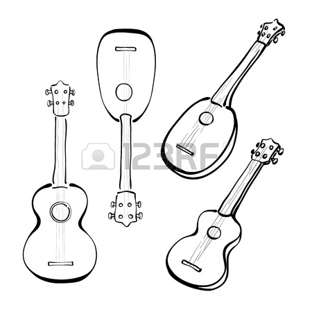 450x450 Infographic With Hand Drawn Ukulele. Royalty Free Cliparts