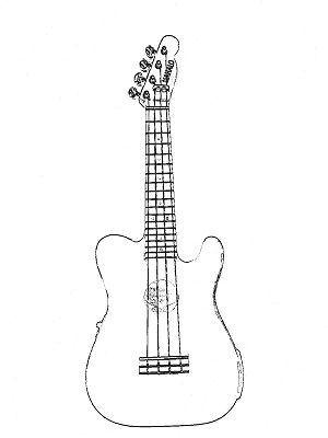 300x400 Fender Telecaster Style Ukulele Coloring Page From Fret No More