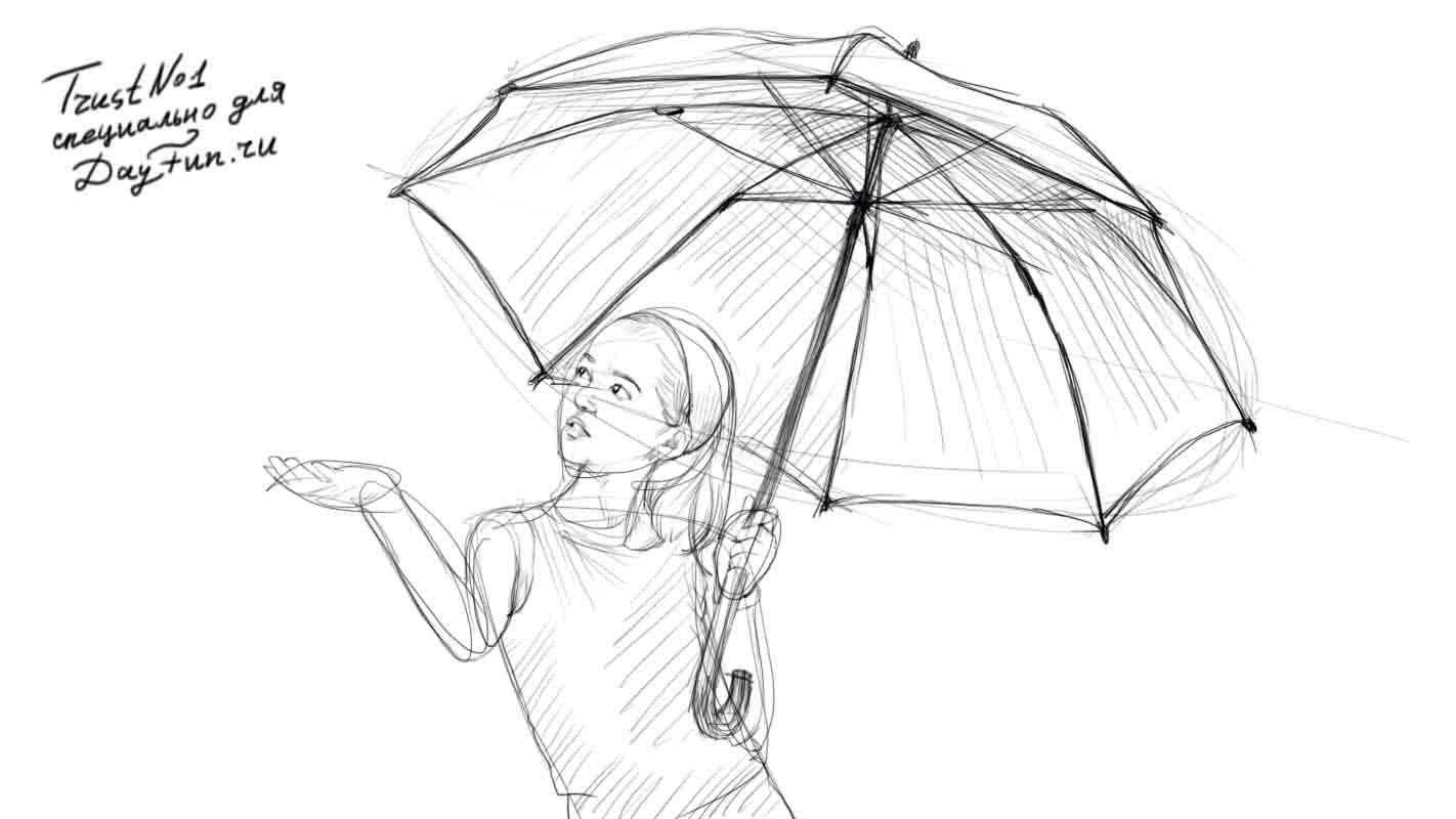 1422x800 How To Draw An Umbrella Step By Step