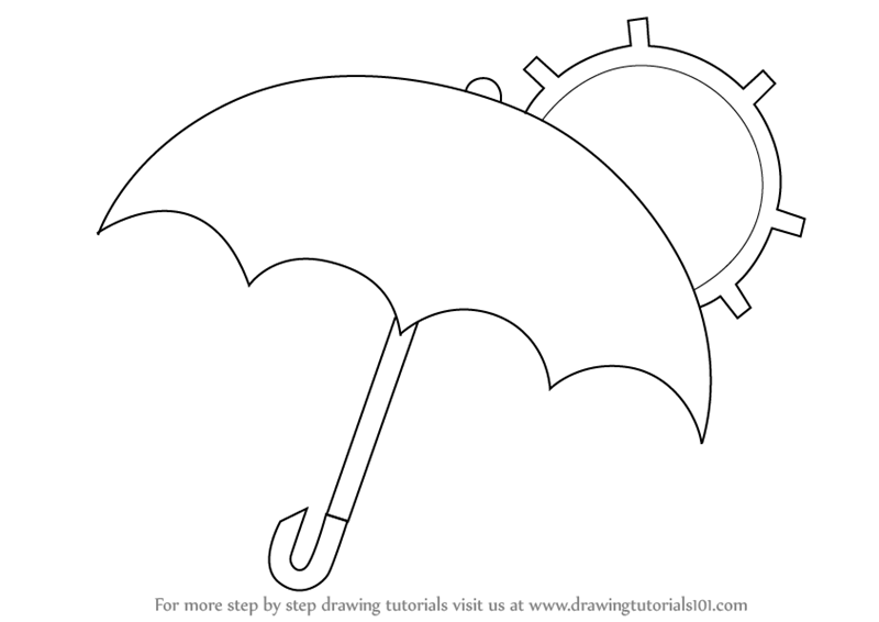 800x566 Learn How To Draw An Umbrella With Sun (Everyday Objects) Step By