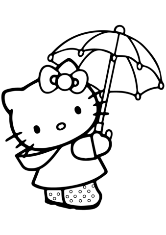339x480 Lovely Hello Kitty Under The Umbrella Coloring Page Free