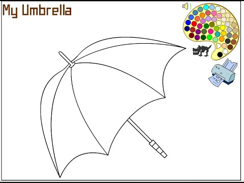 480x360 Umbrella Coloring Pages For Kids