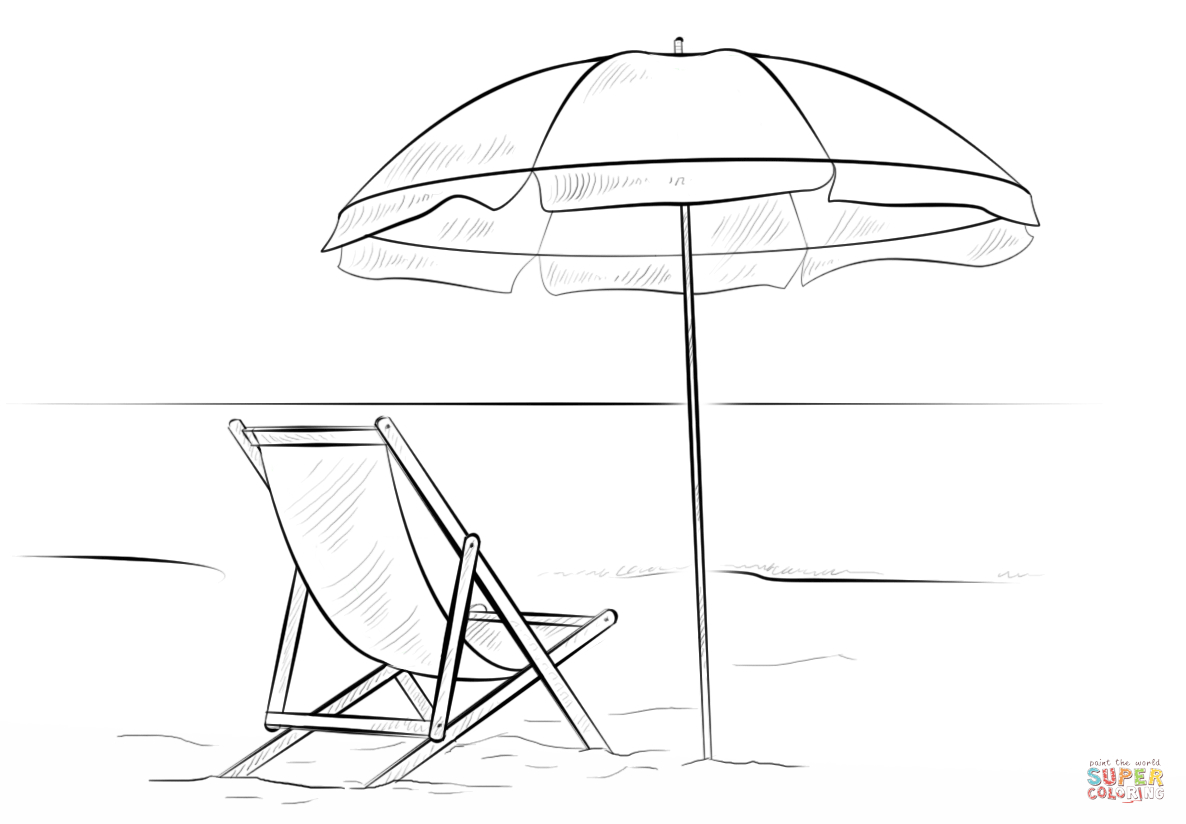 1186x824 Beach Chair Drawing Beach Chair And Umbrella Coloring Page Free