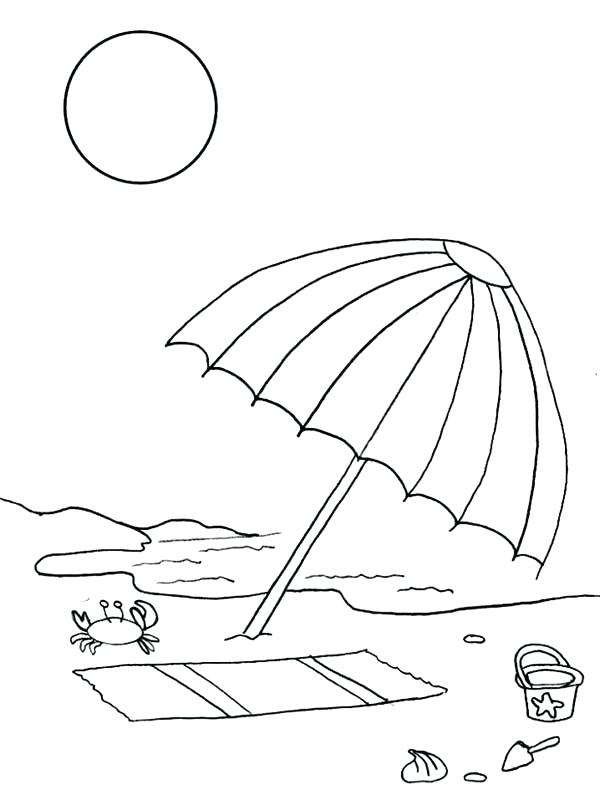 600x800 Drawing Page Online A Kids Drawing Of Beach Umbrella Coloring Page