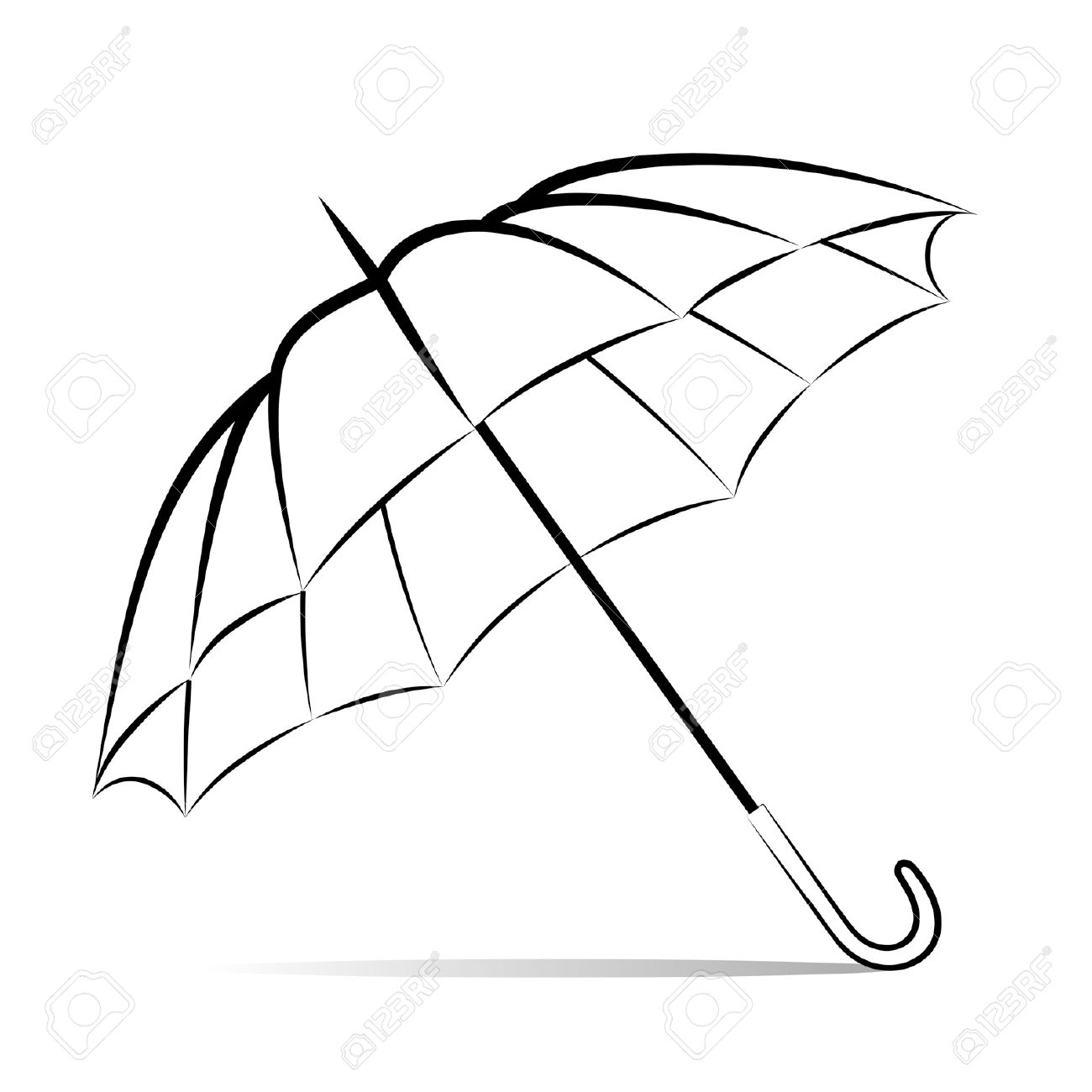 1300x1300 Drawing Umbrella On White Background Royalty Free Cliparts