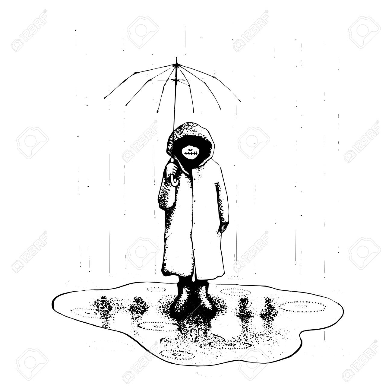 1300x1300 Girl Stand Alone In The Rain With Umbrella. Vector Illustration