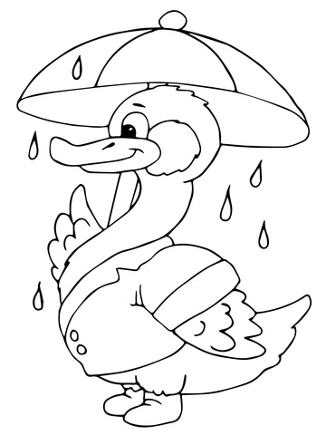360x480 Duck With Umbrella Under The Rain Coloring Page Free Printable