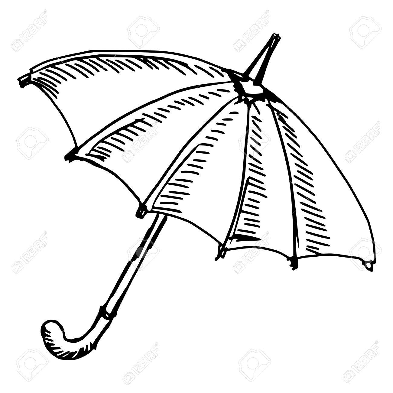 1300x1300 Hand Drawn, Sketch Illustration Of Umbrella Royalty Free Cliparts
