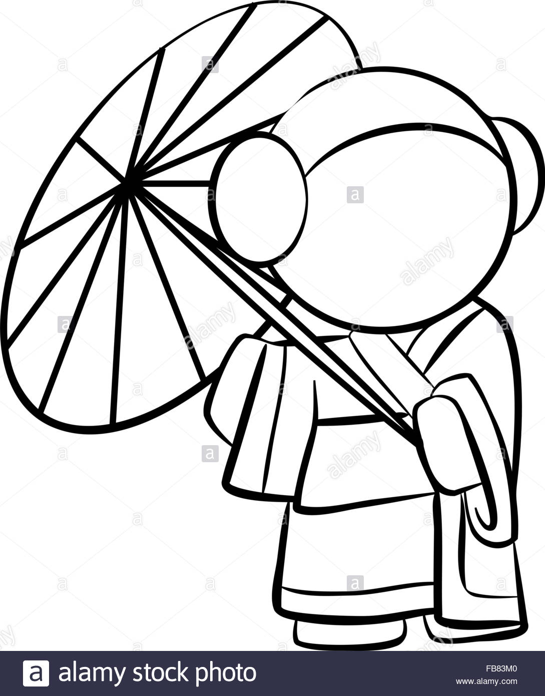 1089x1390 Line Drawing Of A Cute Geisha With Umbrella Stock Vector Art