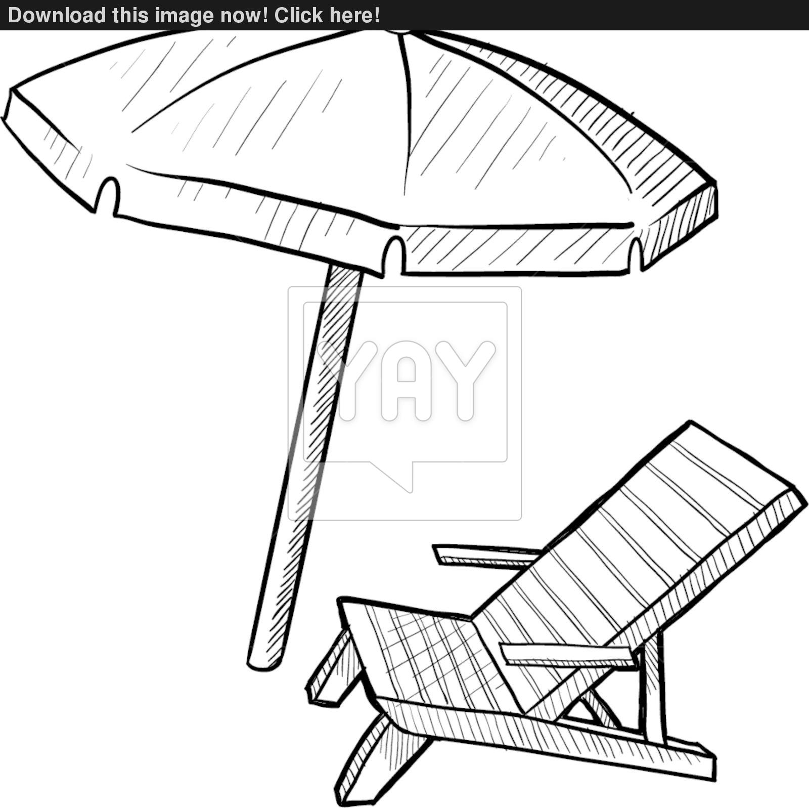 1600x1597 Beach Chair And Umbrella Sketch Vector