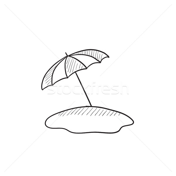 600x600 Beach Umbrella Sketch Icon. Vector Illustration Andrei Krauchuk