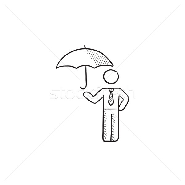 600x600 Businessman With Umbrella Sketch Icon. Vector Illustration