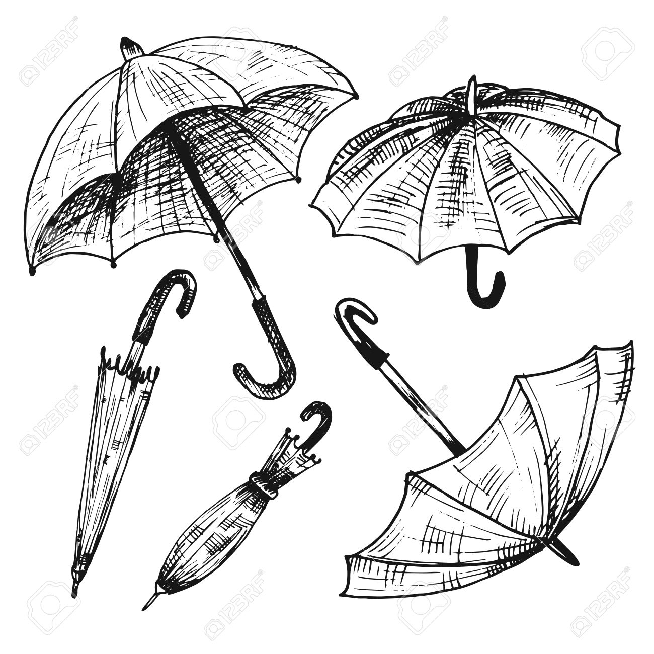 1300x1300 Drawing Set Of Umbrellas. Umbrellas From A Rain, Female Umbrellas