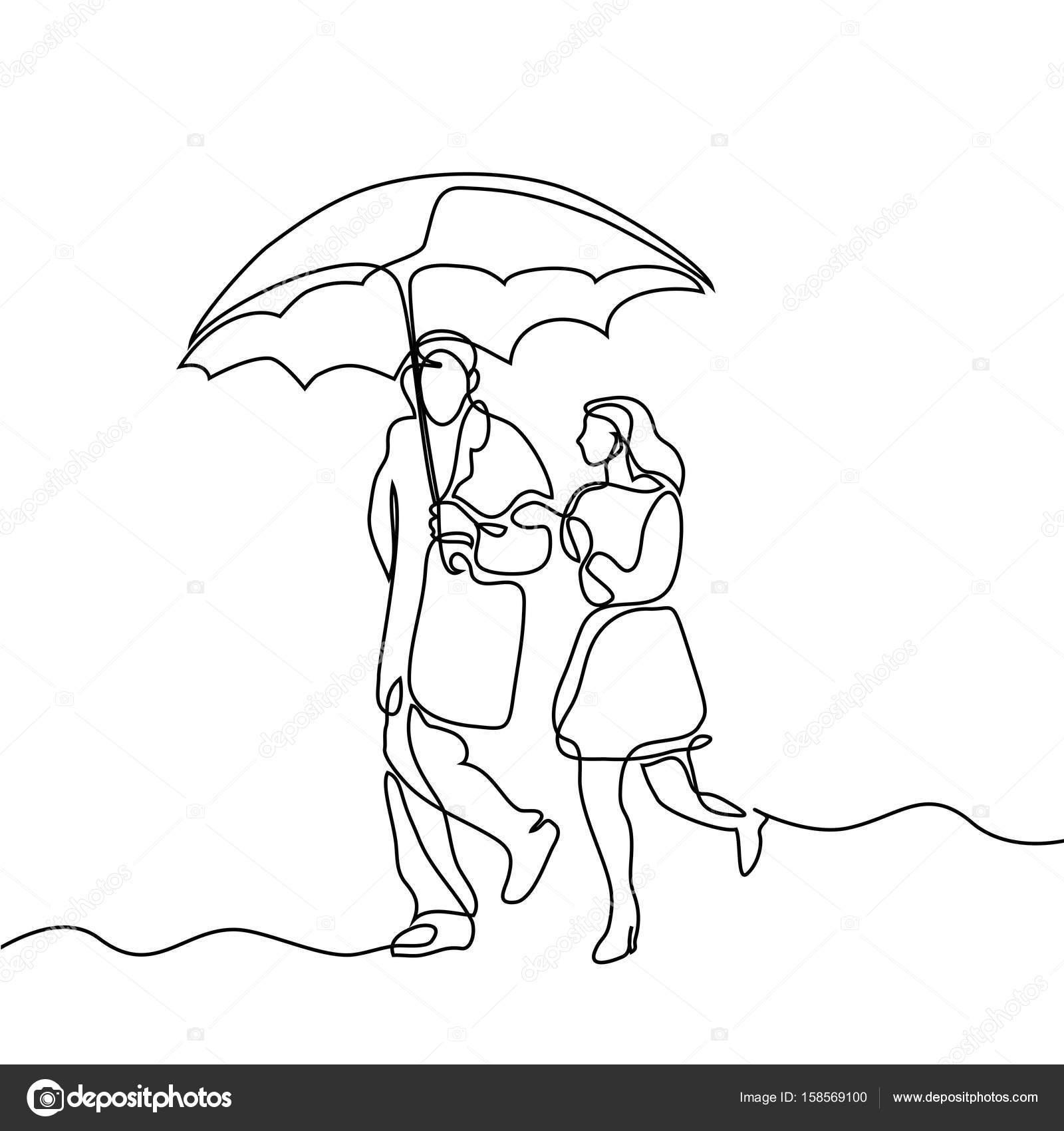 1600x1700 Couple Walking Under Umbrella. Stock Vector Valenty