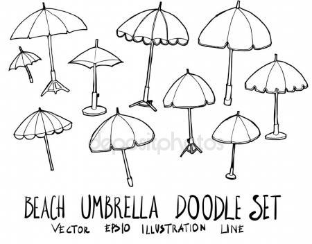450x352 Set Of Beach Umbrella Illustration Hand Drawn Doodle Sketch Line