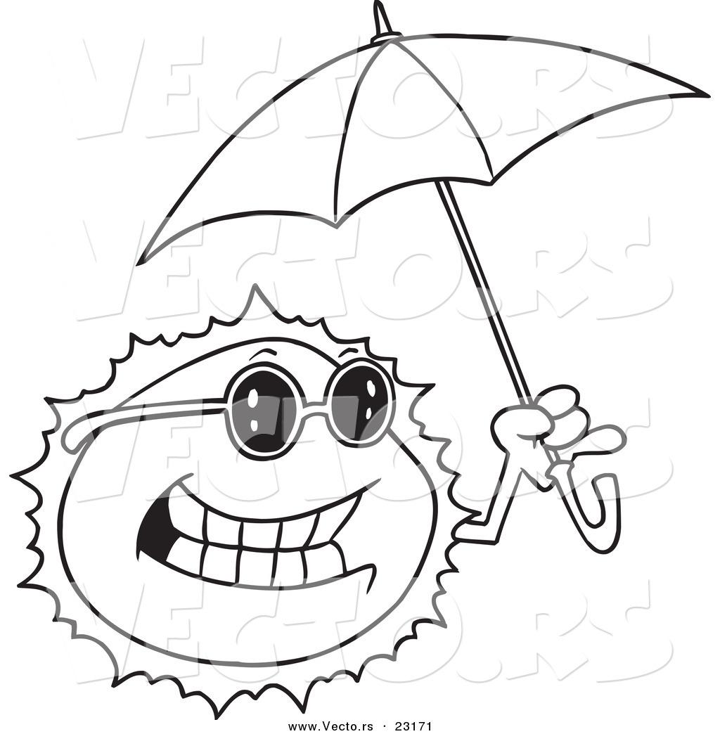 1024x1044 Vector Of A Cartoon Sun Holding An Umbrella