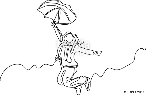 500x328 Continuous Line Drawing Of Happy Woman Stock Image And Royalty