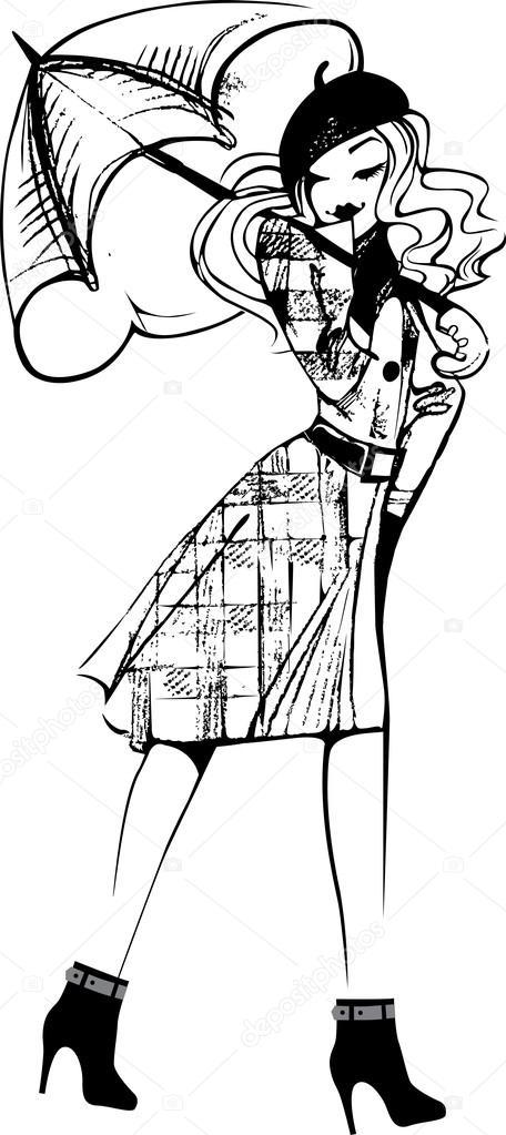 456x1023 Drawing A Girl In A Coat And Umbrella Stock Vector Filitova