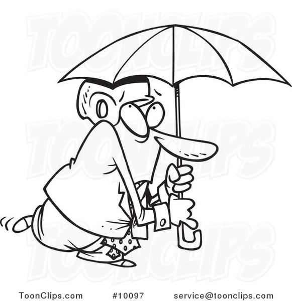 581x600 Cartoon Black And White Line Drawing Of A Paranoid Business Man