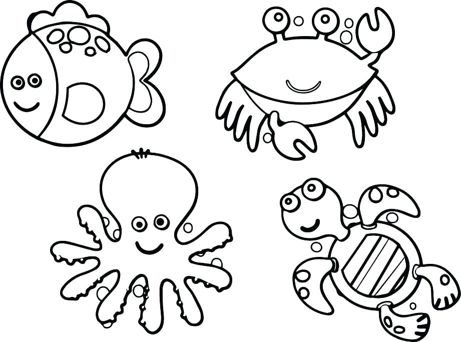 921x683 Ocean Scene Coloring Page Drawing With