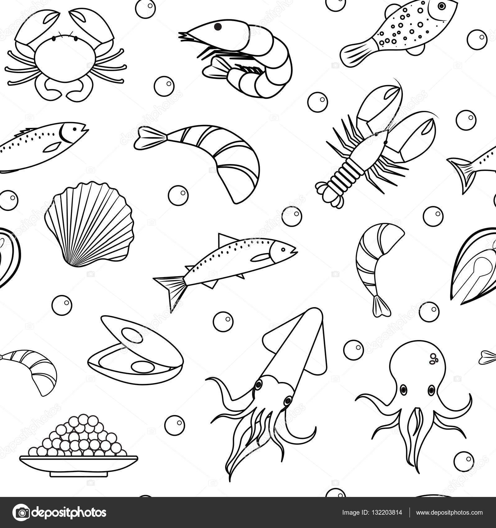 1597x1700 Sea Life Seamless Pattern. Underwater Endless Background, Texture