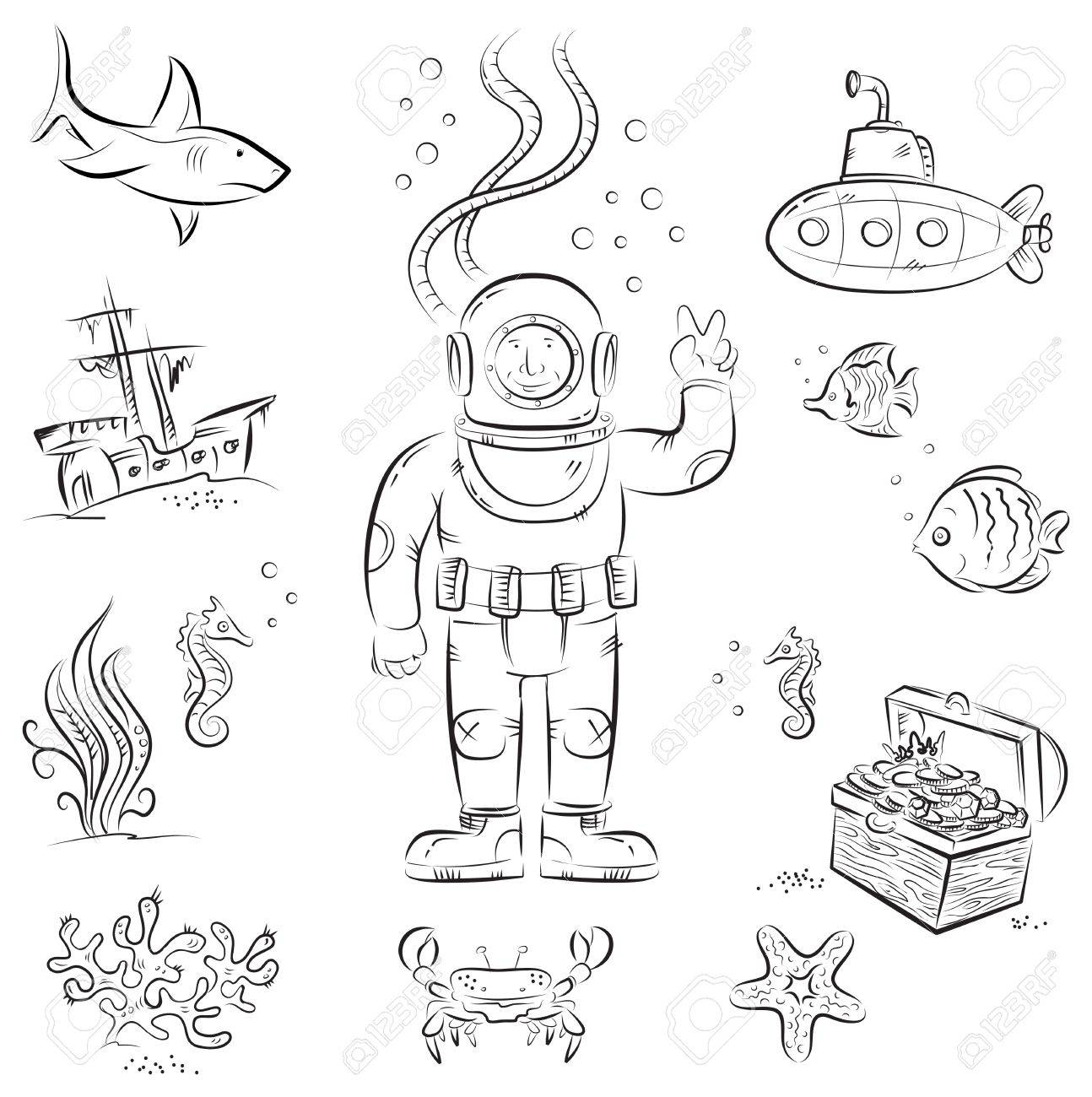 1294x1300 Sketch Set Of Funny Cartoon Izolated Objects On Underwater Diving