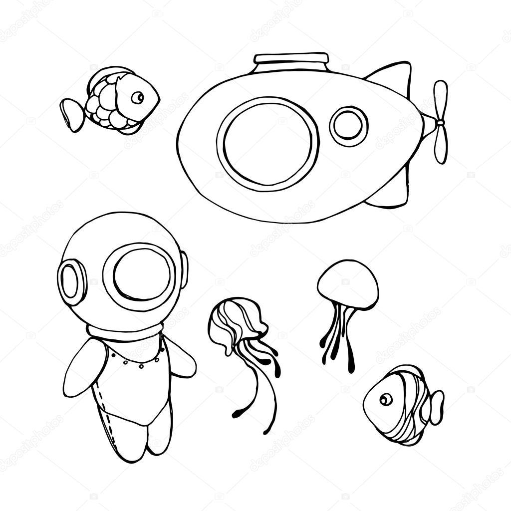 1024x1024 Cartoons On Deep Underwater World Theme Stock Vector O.ta