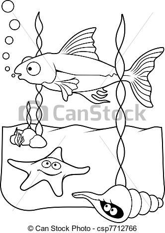 332x470 Clip Art Vector Of Sea Life Coloring Book