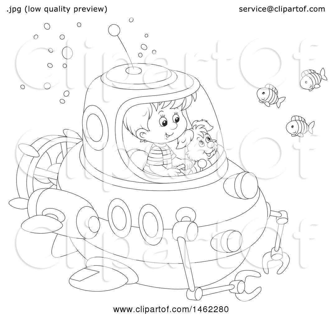 1080x1024 Clipart Of A Black And White Happy Dog And Boy Exploring