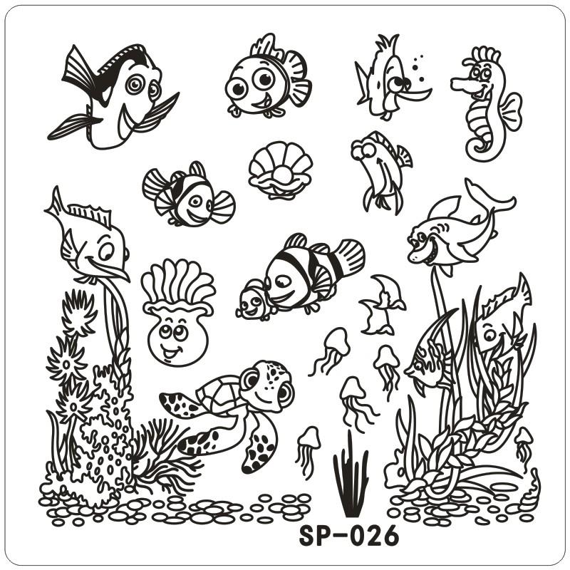 800x800 Clown Fish Underwater Word Cartoon Stamping Nail Art Kit Template