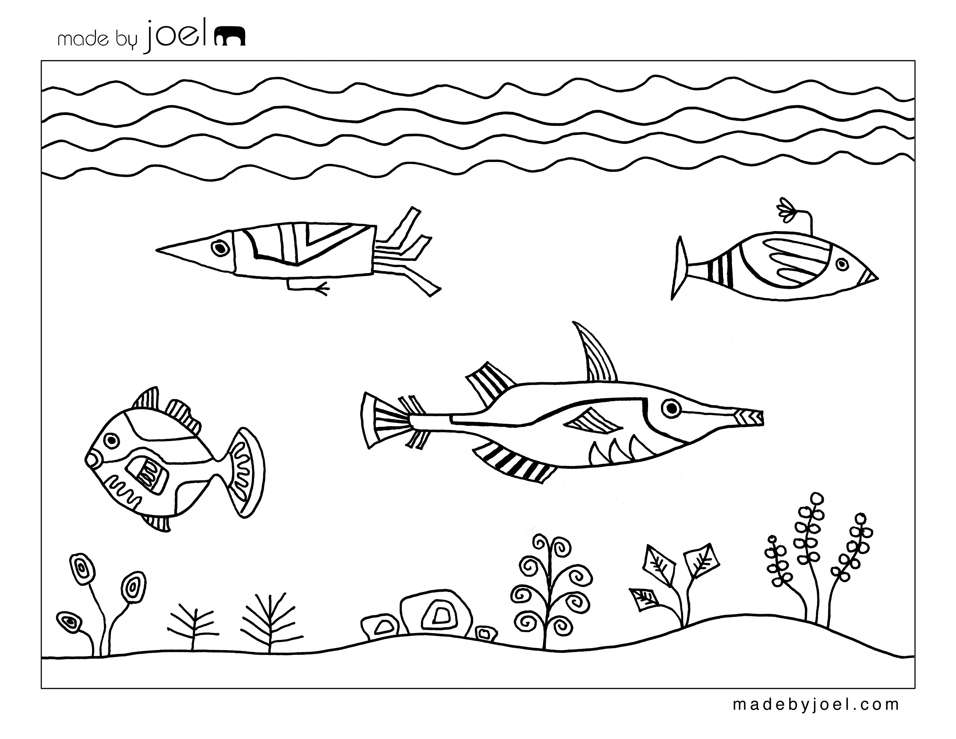 3300x2550 Made By Joel Underwater Design Coloring Sheet