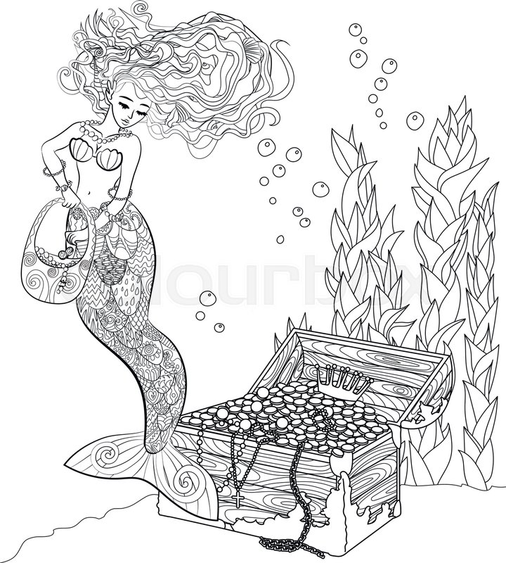 720x800 Patterned Illustration Of A Mermaid In The Zentangle Style