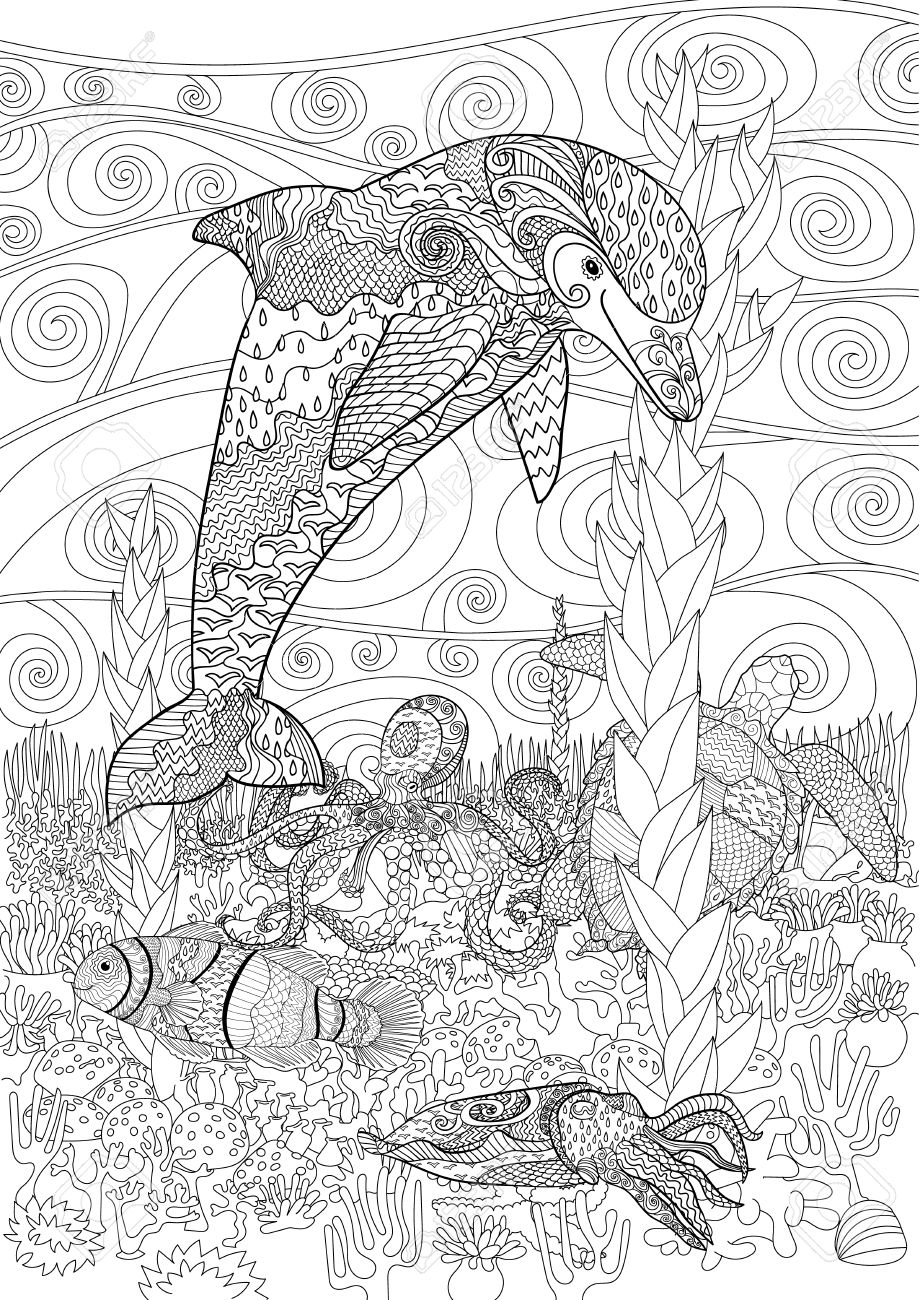 920x1300 Sea Animals With High Details. Adult Antistress Coloring Page