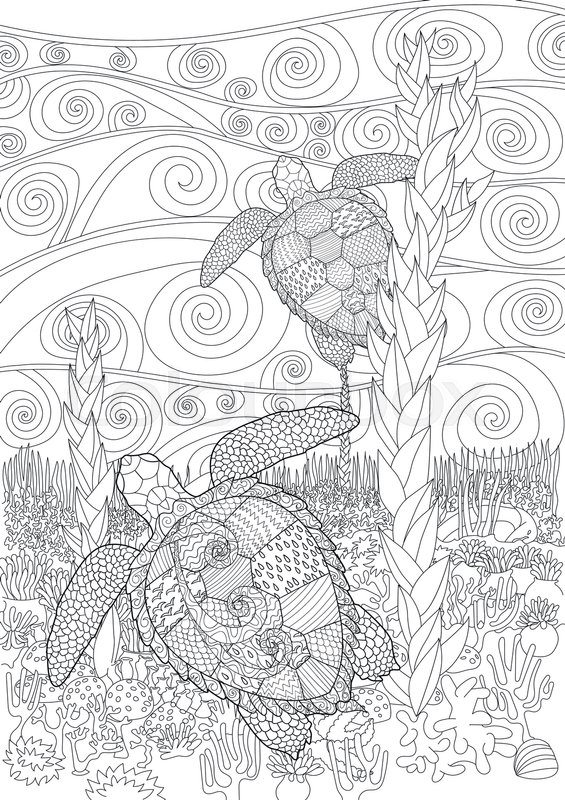 565x800 Swimming Sea Turtle For Anti Stress Coloring Page With High