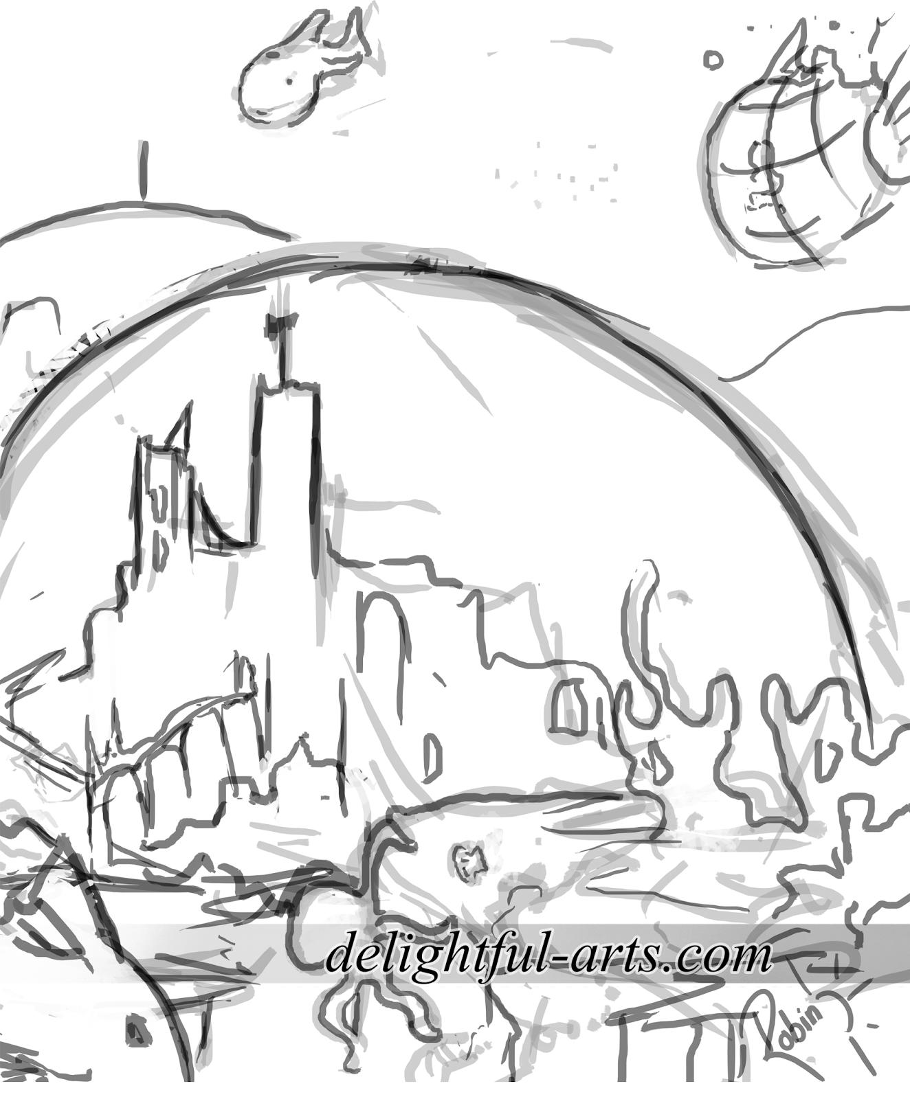 1324x1600 Delightful Arts Underwater City Sketch And Speedart