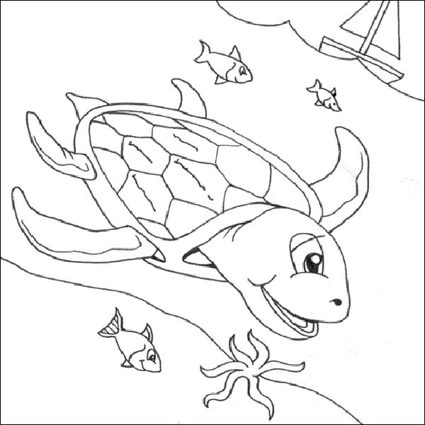 600x600 Free Sea Turtle Underwater Coloring Page