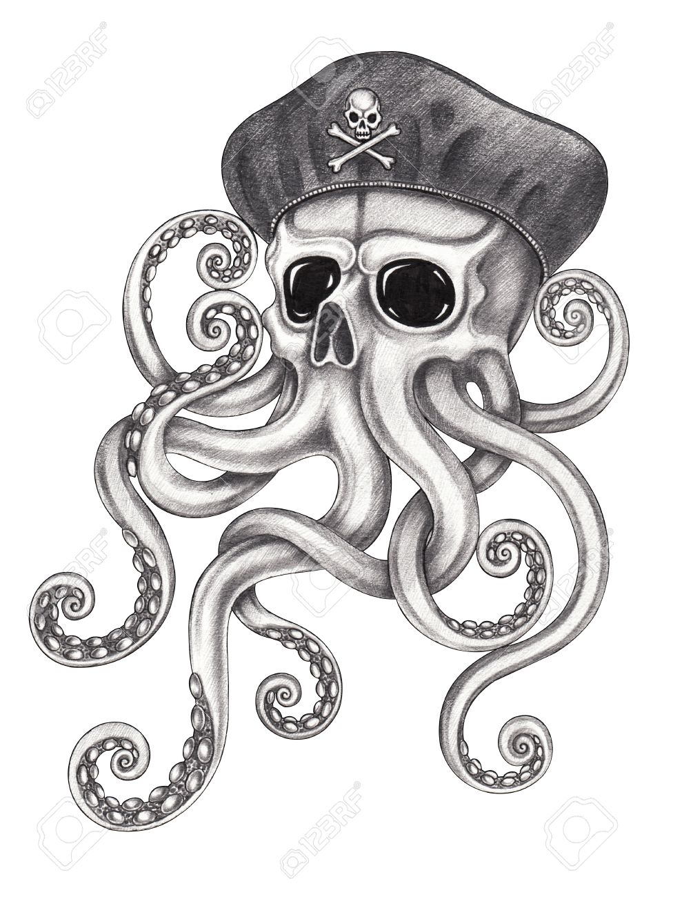 976x1300 Skull Octopus Surreal Tattoo.hand Pencil Drawing On Paper. Stock