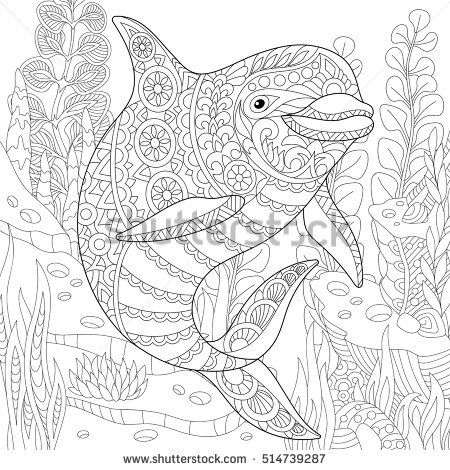 450x470 Stylized Cute Dolphin Swimming Among Underwater Seaweed. Freehand