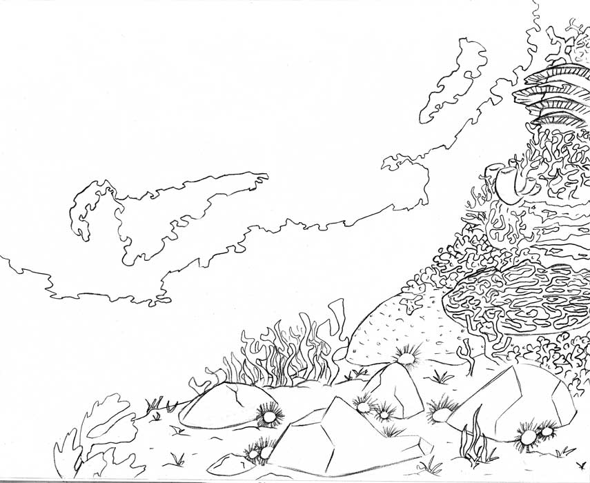 Underwater Scene Drawing