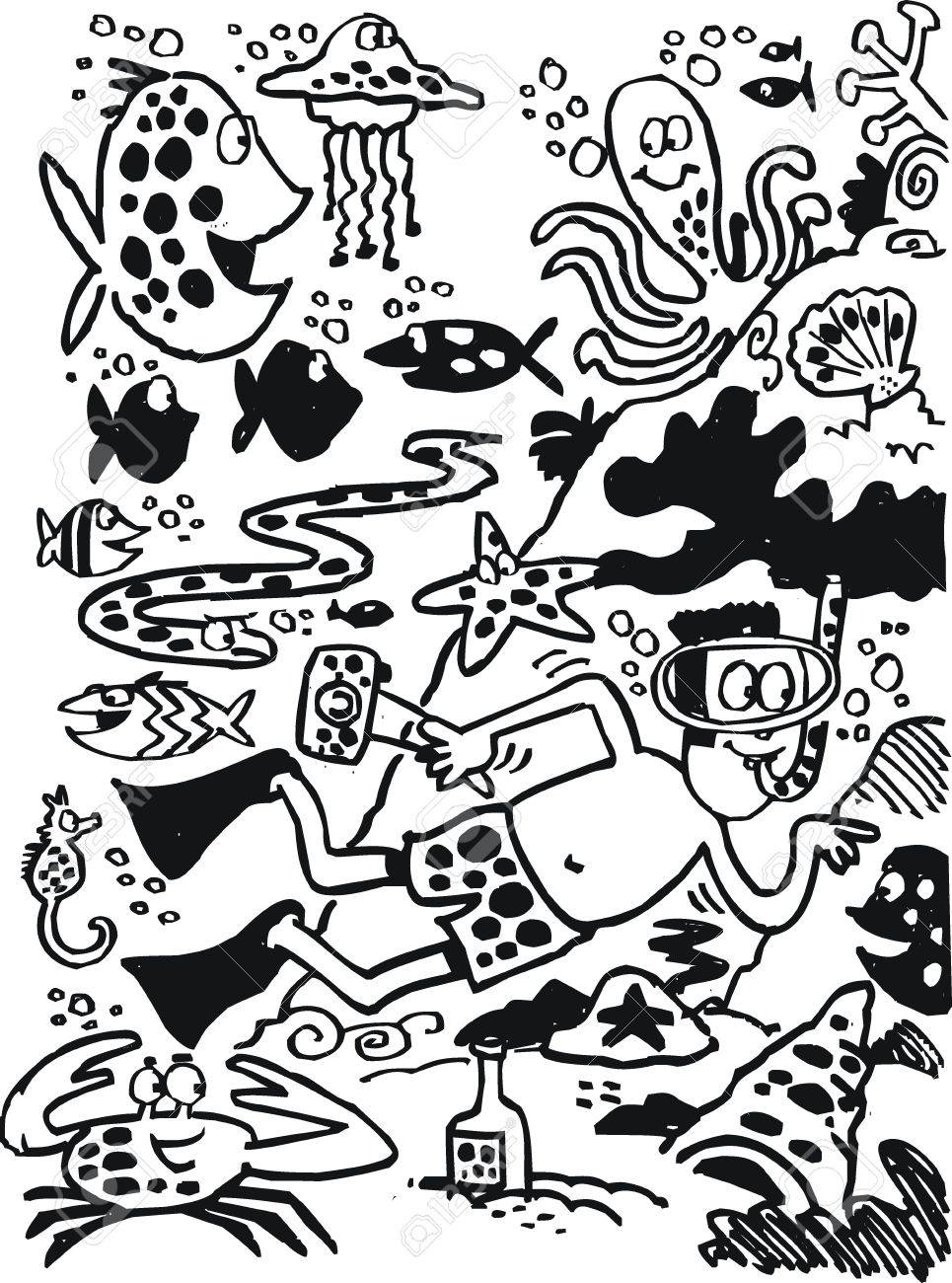 965x1300 Black And White Cartoon Of Underwater Scene. Royalty Free Cliparts