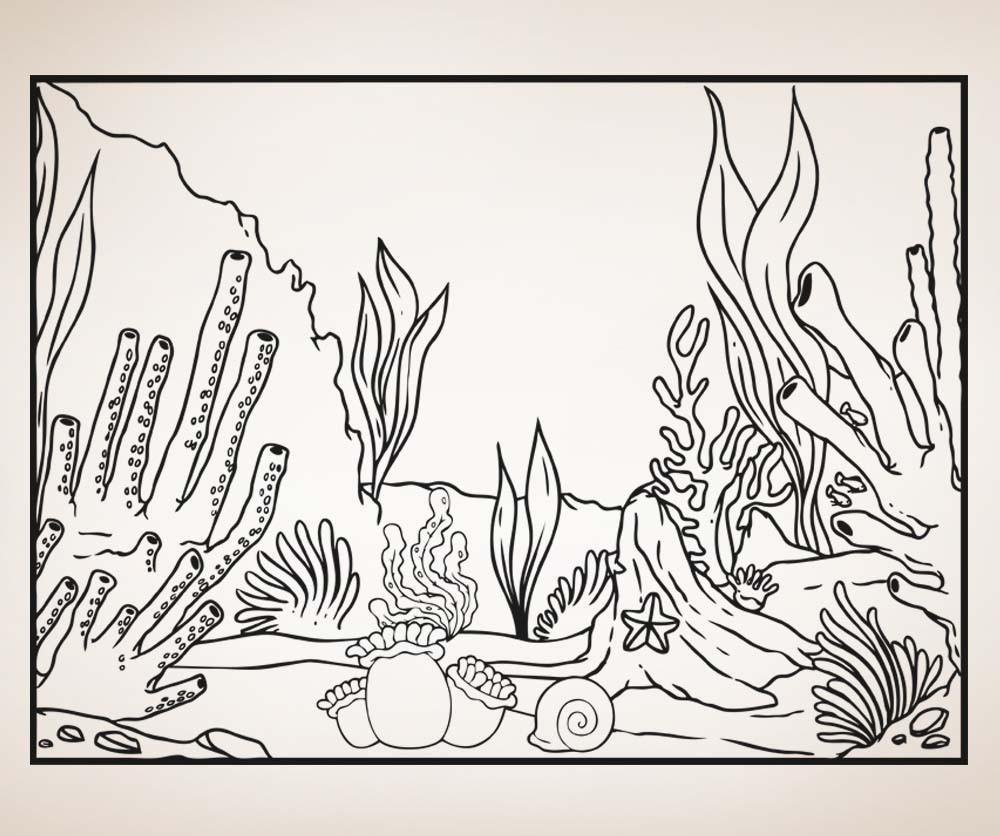1000x836 Vinyl Wall Decal Sticker Underwater Corals Scene Line Art