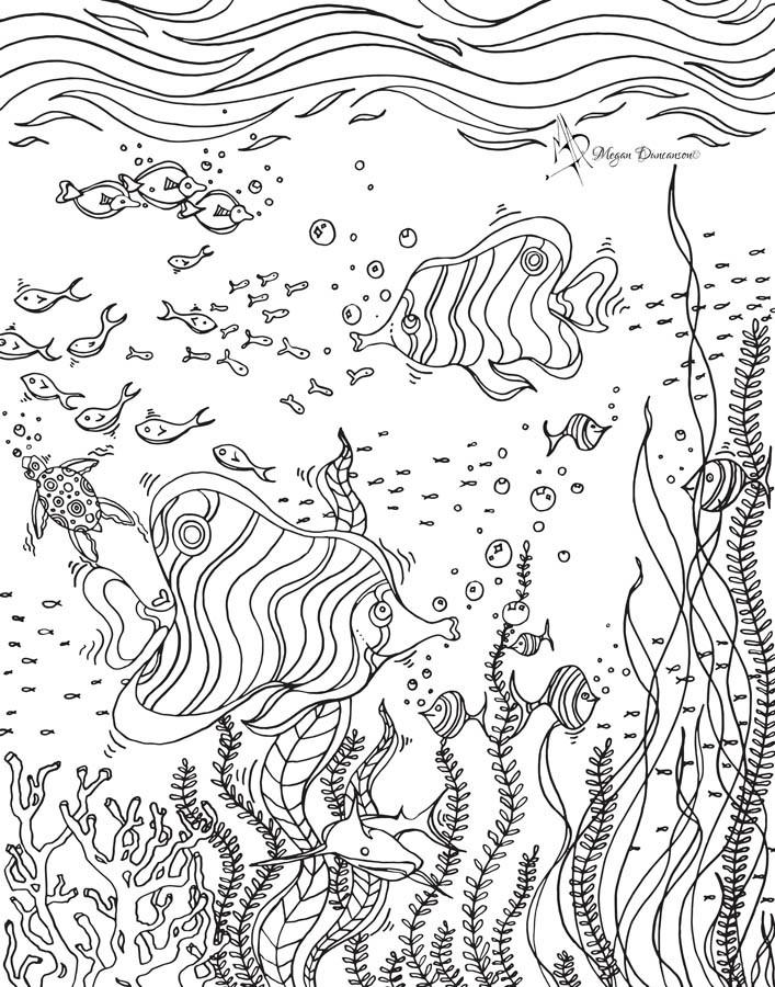 707x900 Colorable Underwater Scene Mural Color Me