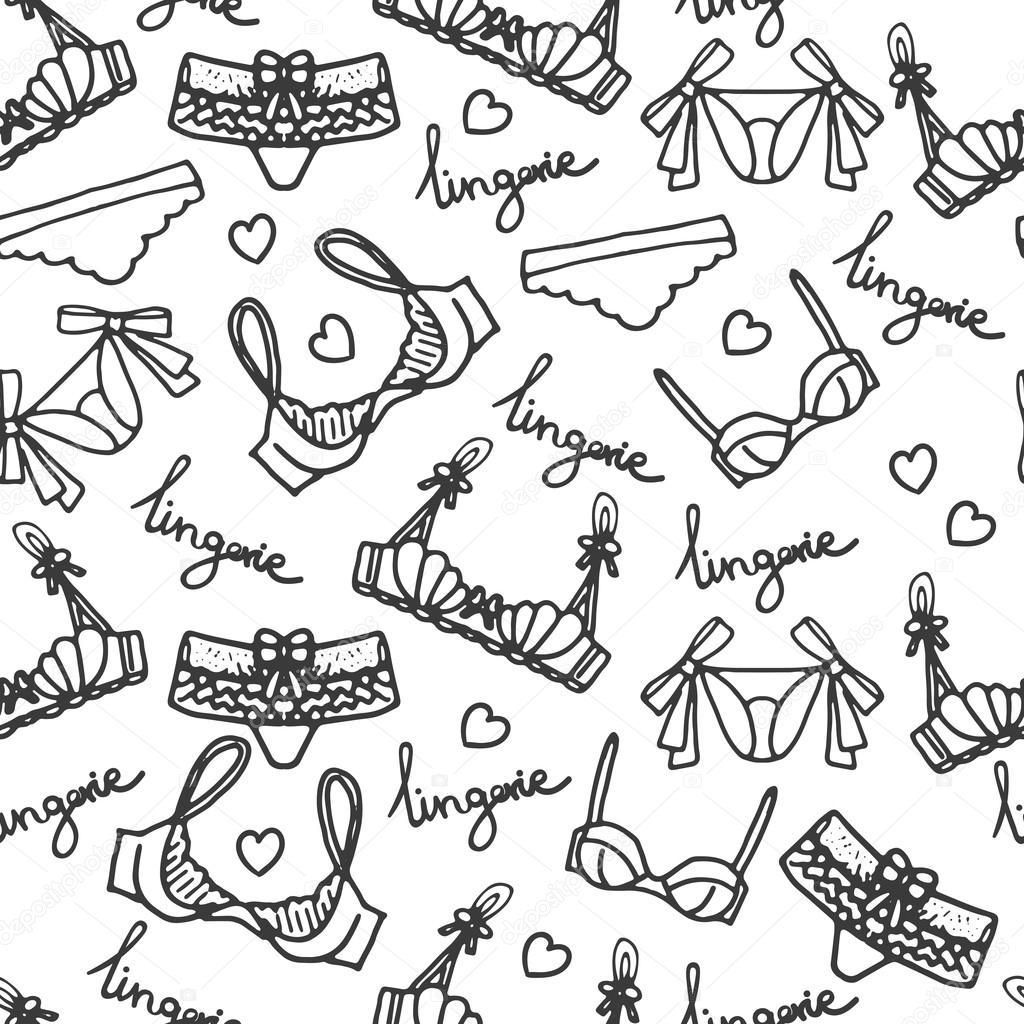 1024x1024 Lingerie Seamless Pattern. Vector Underwear Background Design