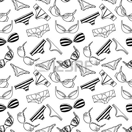 450x450 Lingeries Seamless Pattern. Vector Underwear Background Design