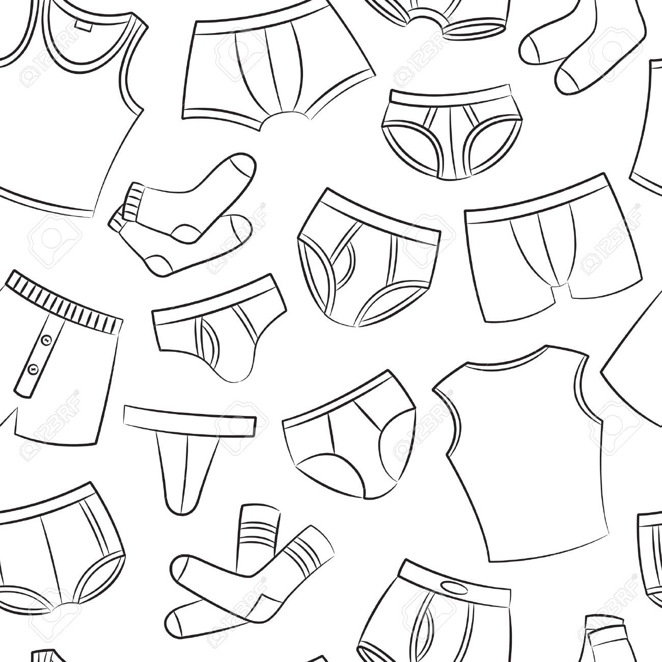 1300x1300 Male Underwear Doodle Seamless Pattern Royalty Free Cliparts