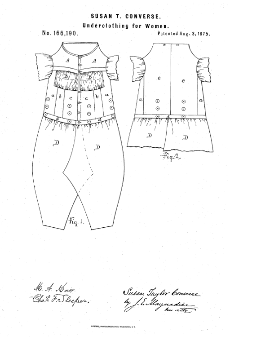 514x679 Photo Drawing From Susan T. Converse's Patent For Women'S