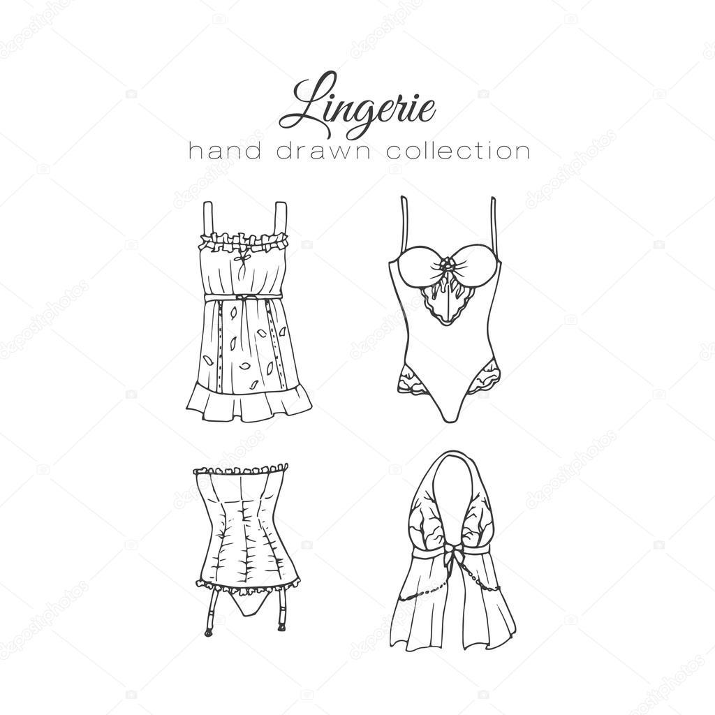 1024x1024 Vector Lingerie Set. Sexy Underwear Design. Outline Hand Drawn