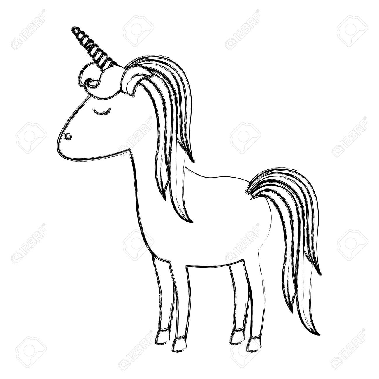 1300x1300 Monochrome Blurred Silhouette Of Cartoon Unicorn Standing