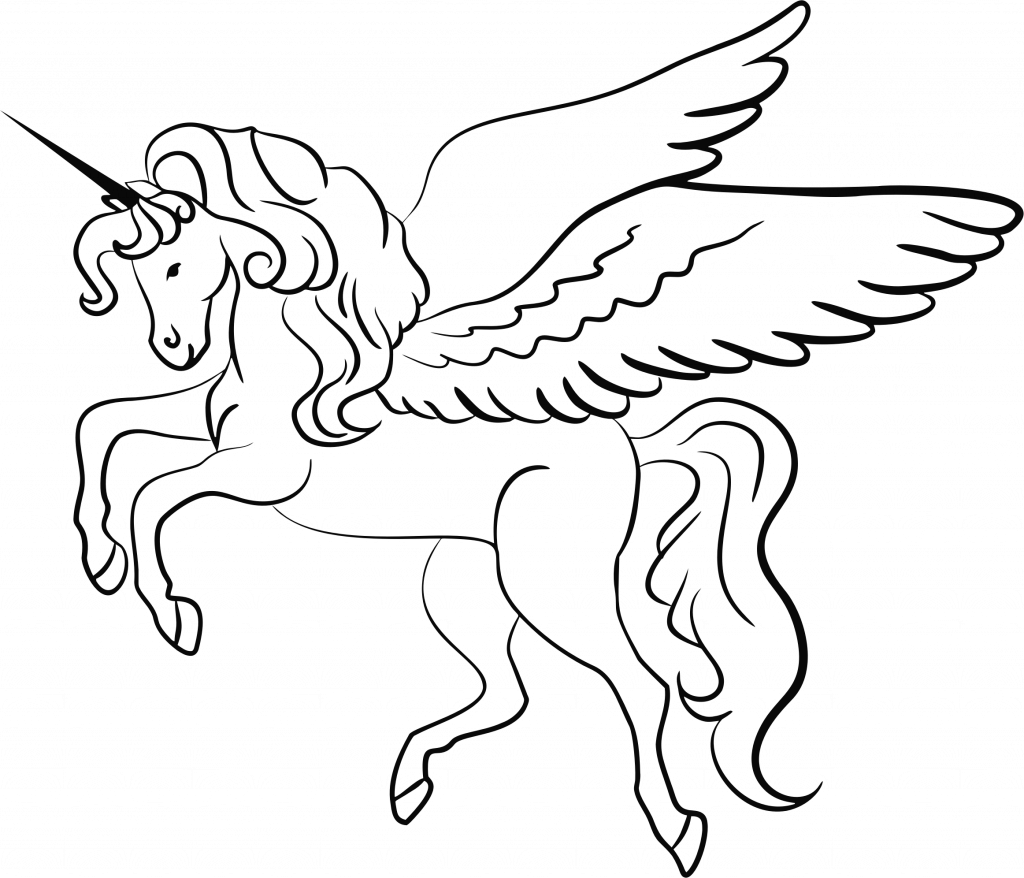 1024x878 Unicorn Line Drawing